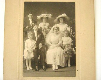 Antique Edwardian Wedding Party Photo, Early 1900s, Cabinet Card, Bride, Groom, Flower Girl