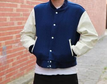 Vintage VARSITY Jacket / Blue and White Jacket / Made in USA / Medium