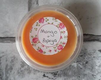 Mango & Papaya scented soy wax pot.