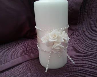 Ivory wedding candle, cream roses