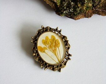 Brooch with real rape flowers - nature jewelry - vintage jewelry