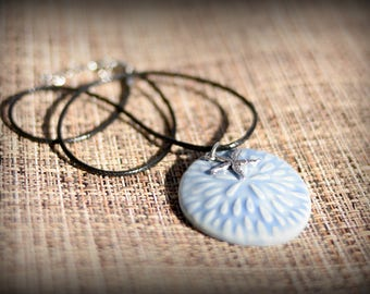Sand Dollar + Starfish Necklace - Beach inspired necklace - handmade - blue pottery pendant - ceramic pendant - silver charm necklace