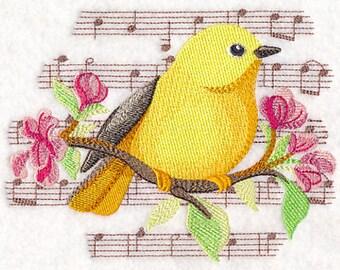 Yellow Warbler Towel - Music Towel - Bird Towel - Flour Sack Towel - Hand Towel - Bath Towel  - Apron