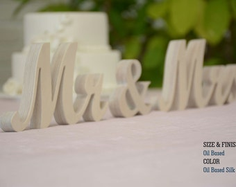 Mr & Mrs Wood Wedding Decoration, Mr and Mrs Sign Wedding Table Signs , Mr and Mrs Letters, Silver Glitter, Gold Glitter