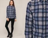 90s Plaid Shirt Blue Flannel Shirt Navy Blue Shirt White Grunge Button Up 80s Lumberjack Vintage Long Sleeve Small