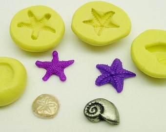 Beach themed mini molds - flexible silicone - for polymer clay and crafts