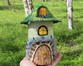 Fairy House Green Troll Cottage Jewelry Box  Fairies and Elves Garden Felted fairy house Woodland  Home Felted Wool  Fairytale Decor