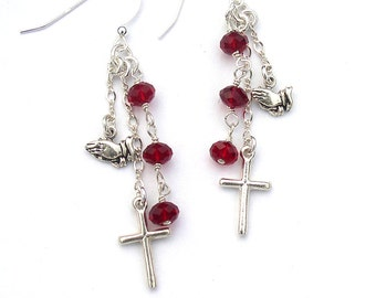 Sterling Silver Cross Earrings Dangle Praying Hands Christian Gift for Women