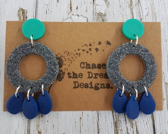 Navy, granite and teal Clay Dangles