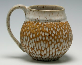 Coffee Mug, 12 oz, handthrown ceramic mug, stoneware pottery mug, textured coffee mug White and Golden Brown/Ceramics and Pottery