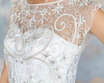 FLAVA/Silhouette wedding dress lace-up graceful exquisite wedding dress Wedding separates mermaid wedding dress Wedding Top wedding Bolero