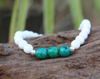 Bracelet natural pearls - White Jade, 925 sterling silver and Chrysocolla
