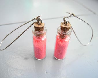 Vials and neon pink glitter earrings