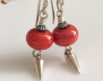 Red Glass Earrings   Lampwork Glass    Sterling Silver Earrings    Small Dangle Earrings