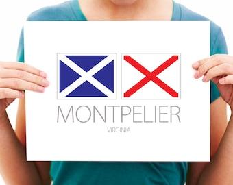 Montpelier, Virginia - Nautical Flag Art Print