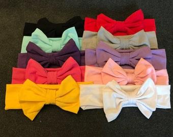 Set of 10 Cotton Bow Turban Headbands Headwraps, Baby Bow Headbands, Girls Bow Headbands, Cotton Turban Bow Headbands, Messy Bow Head Wraps