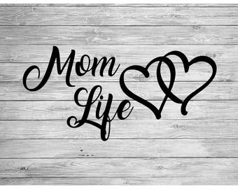 Mom Life Decal Sticker, #Mom Life, Mother Decals, Love Decal, Son Decal, Daughter Decal, Heart Decal