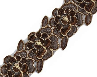 Embroidered flowers Brown and gold 85 mm organza Ribbon