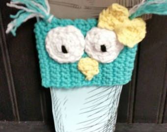 Owl Mug Cozy - Coffee Sleeze, Mug Sleeve, Mug Warmer, Tea Warmer, Owl Cup Cover, Owl Mug Sleeve
