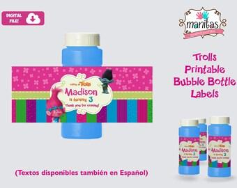 Trolls Printable Bubble Bottle Label, Personalized Bubble Bottle Label, Trolls Party, Trolls Birthday, Trolls Favors, Trolls