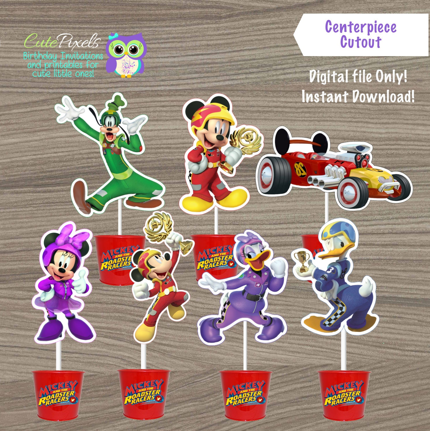 Mickey Mouse Roadster Cupcake Toppers Novocom Top