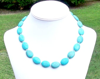 Turquoise Oval Necklace Chunky Turquoise Necklace Simple Turquoise Necklace 20mm Round Turquoise Necklace Large Turquoise Howlite Necklace