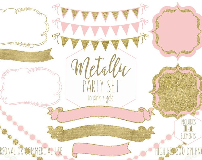 GOLD & BLUSH PINK Party Clipart Commercial Use Clip Art Metallic Gold Bunting Banners Frames Fairy Lights Planner Clipart Wedding Graphics