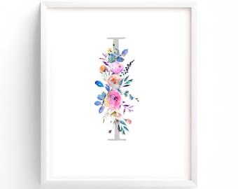 Nursery Art, Letter I, Nursery Decor, Monogram Print, Floral Letters, Nursery Wall Art, Nursery Prints