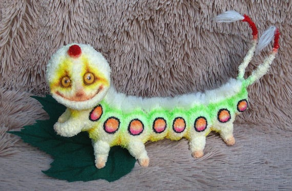Amigurumi Caterpillar : Caterpillar teddy bear ooak caterpillar toy crochet