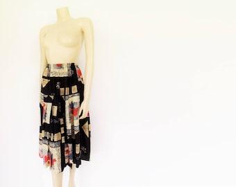 Boho Skirt, UK10, Festival Clothing, Hippy, Vintage Clothing, Midi Skirt, Festival Clothing, Ladies Clothing, Patterned Skirt, Black Skirt