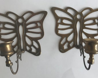 Set 2 butterfly brass candlestick holders wall sconces vintage