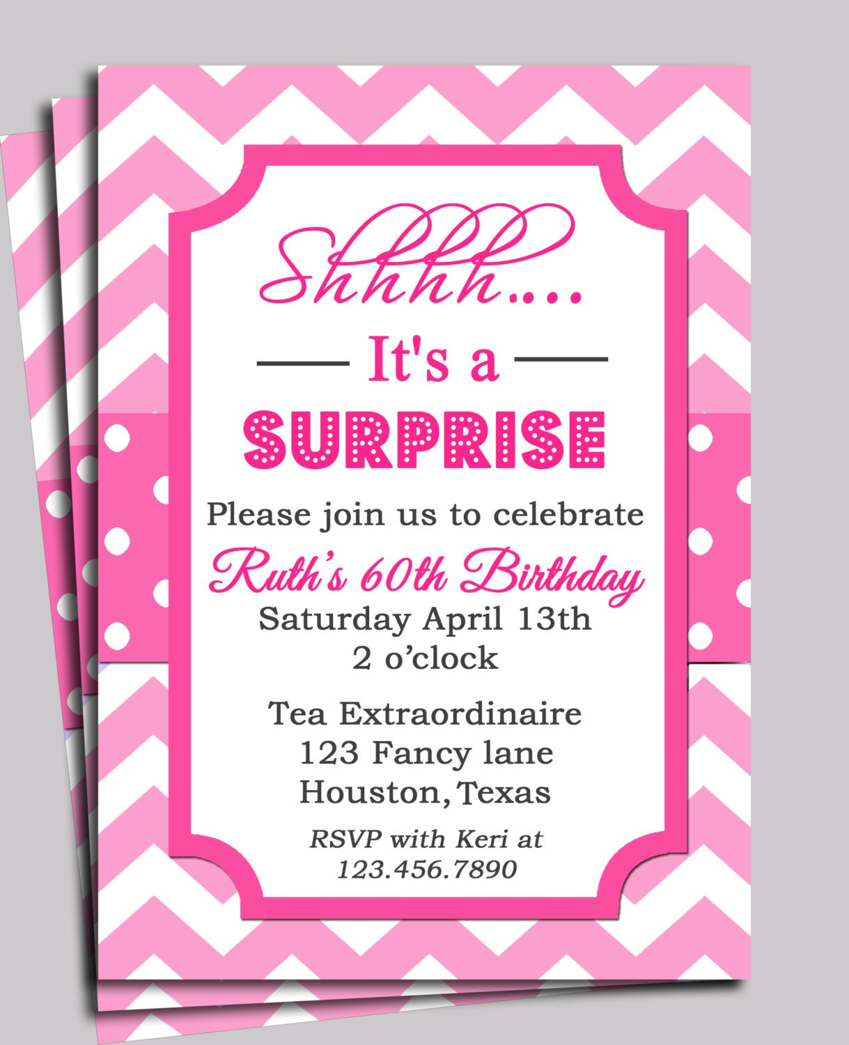 Chevron invitation printable or free shipping you pick for What does regrets only mean