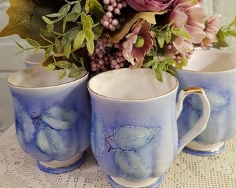 Vintage Shabby Chic Style Set of 6 Lovely Lilac Floral Cups