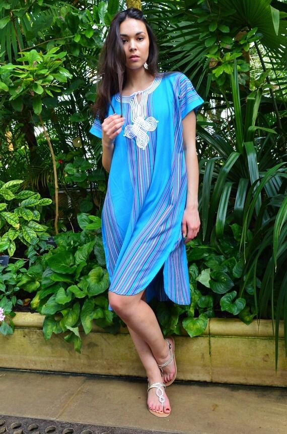 New Turquoise Blue Bedouin Resort Short Tunic Caftan Kaftan - Summer dress, spring dress,beach cover ups, resortwear,loungewear, birthdays