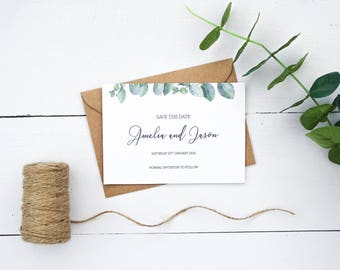 Eucalyptus Save the Date, Save the Date Cards, Wedding Save the Dates