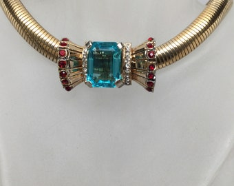 BOW NECKLACE with Huge AQUA Center Stone