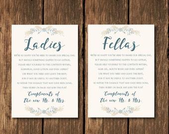 INSTANT DOWNLOAD, Wedding Bathroom Sign, Wedding Bathroom Basket Sign,  Ladies and Fellas Wedding