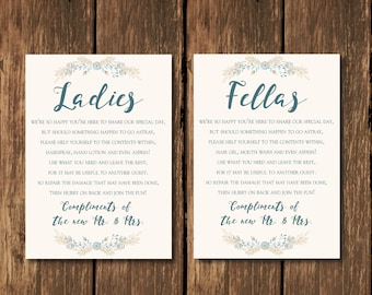 INSTANT DOWNLOAD, Wedding Bathroom Sign, Wedding Bathroom Basket Sign,  Ladies And Fellas Wedding