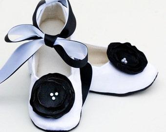 White Flower Girl Ballet Slipper, Toddler Formal Black Tie Shoe, Satin Baby Shoes, Wedding Ballet Flat, Crib, Dance Shoe, Baby Souls Couture