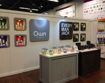 Trade Show Custom portable wall with shadow box displays and side walls - display for shop or booth -