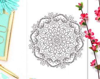Coloring Sticker • May Mandala • Adult Coloring Page • Coloring Sheet • Mandala Art • Bohemian Coloring Sticker • Boho Sticker • A5 Page