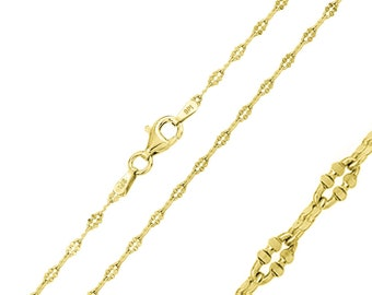 2mm 925 Sterling Silver Italian Daisy Chain Necklace / Gold Plated made in italy(PLDAISY200GP)