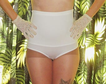 Vintage White High Waist Panty Girdle M shapewear pantie pinup mid century 1950's retro burlesque mad men bettie page boudoir lingerie