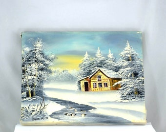 Vintage Small Painting Cabin in the Woods - 1970s, Signed Barrister