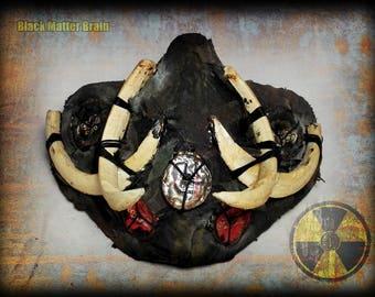 Postapocalyptic Half Mask-tribal style-boar fangs-wasteland Warrior