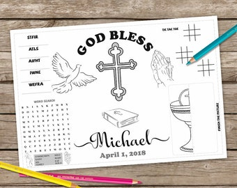 First Communion Coloring Page,First Communion Activity Mat, First Communion Printable Placemat, Religious Game Placemat