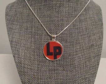 Recycled vinyl record sleeve necklace - LP!""