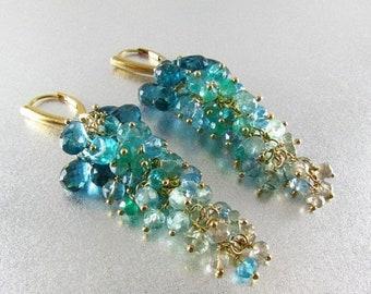 15 Off Watery Gemstone Gold Filled Cluster Earrings - Waterfall