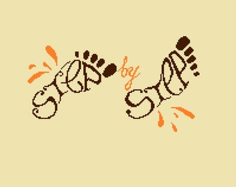 Step by Step quote Cross Stitch PDF Pattern