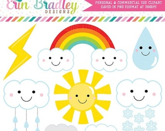 80% OFF SALE Weather Clipart Graphics Digital Clip Art Sun Rainbow Clouds Lightning Bold Raindrop Shower Clouds Commercial Use Graphics